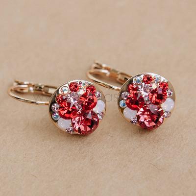 Серьги «Конфетти» с красными кристаллами Сваровски