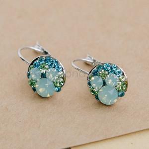 Серьги «Конфетти» с зелеными кристаллами Сваровски