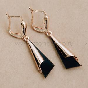 Серьги-треугольники «Люкс» золото на черном