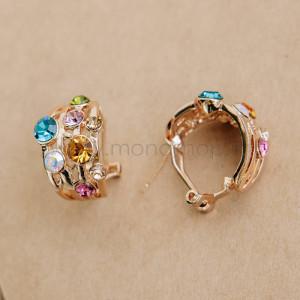Серьги «Фейерверк» с разноцветными кристаллами Сваровски