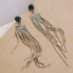 Серьги Интрига с цепочками-подвесками и черным камнем