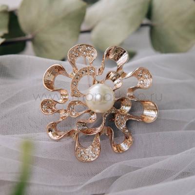 Брошь «Морской цветок» с белой жемчужиной и кристаллами Сваровски
