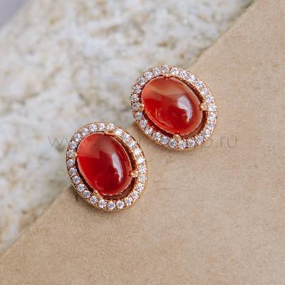 Серьги Монпасье красные с австрийскими кристаллами