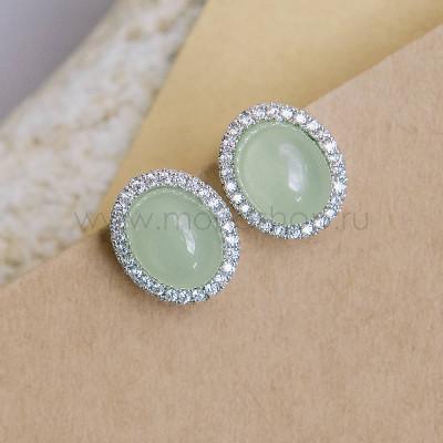 Клипсы Монпасье зеленые с австрийскими кристаллами