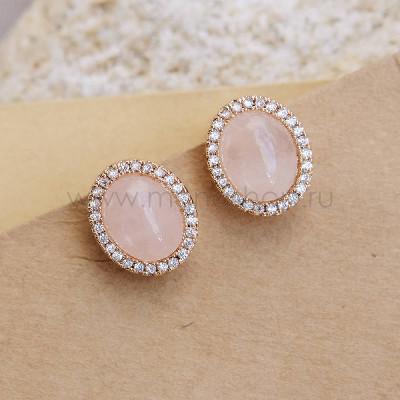 Клипсы «Монпасье» розовые с австрийскими кристаллами