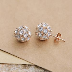 Серьги «Золотые шарики» с белыми кристаллами Сваровски