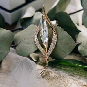 Брошь «Легенды осени» с белым кристаллом Сваровски