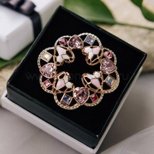Брошь «Розовые мечты» с разноцветными камнями Сваровски