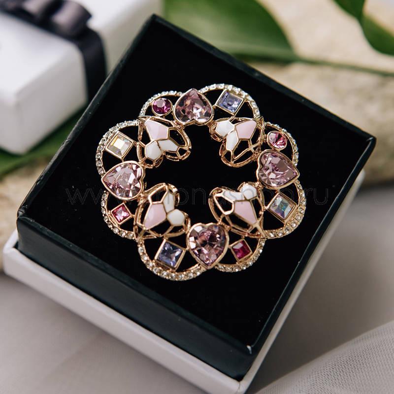 Брошь «Розовые мечты» с разноцветными камнями Сваровски от 3 500 руб