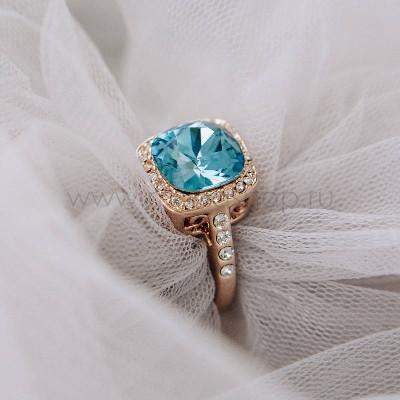 Кольцо Вечность с голубым кристаллом Swarovski