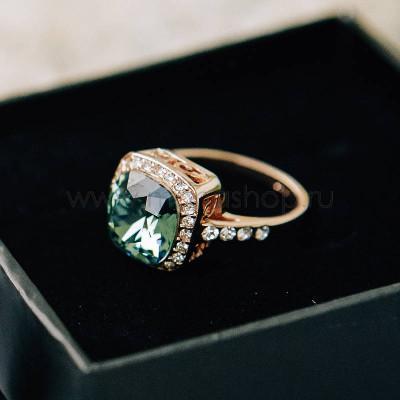 Кольцо Вечность с зеленым кристаллом Swarovski