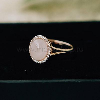 Кольцо Монпасье розовое с австрийскими кристаллами