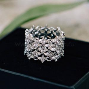 Кольцо ажурное Кассиопея из звездочек с белыми фианитами