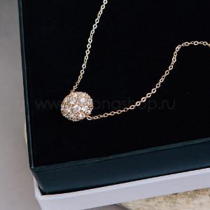 Кулон «Золотой шарик» с белыми кристаллами Сваровски