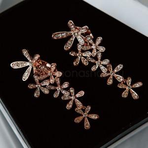 Клипсы «Летнее настроение» с белыми кристаллами, покрытие - золото