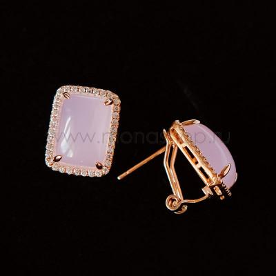 Серьги Отражение прямоугольные с розовым опалом и кристаллами