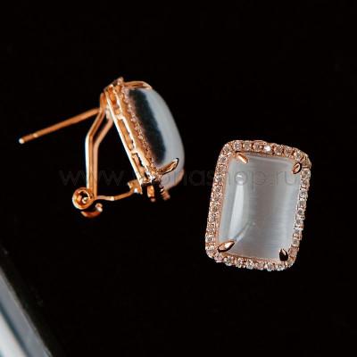 Серьги Отражение прямоугольные с серым опалом и кристаллами