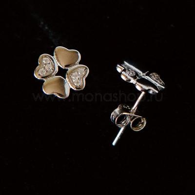 Серьги Клевер серебряные с белыми фианитами