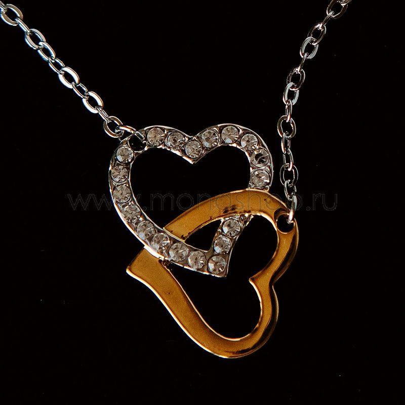 Кулон «Ты и Я» в виде сердца с белыми фианитами от 1 300 руб