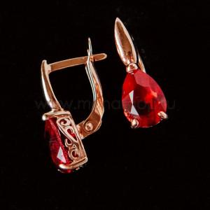 Серьги «Рубиновые капли» с кристаллами Swarovski
