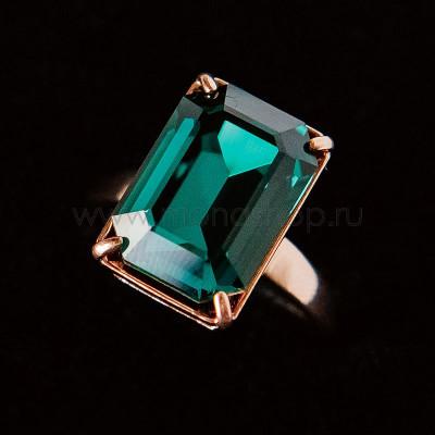 Кольцо Изумрудный цвет с прямоугольным камнем Swarovski