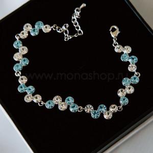 Браслет Вереница с белыми и голубыми кристаллами