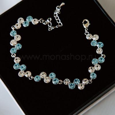 Браслет «Вереница» с белыми и голубыми кристаллами
