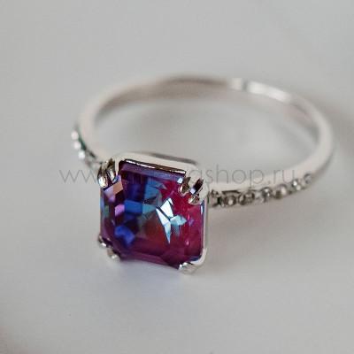 Кольцо Принцесса с кристаллом Swarovski цвета бургунди