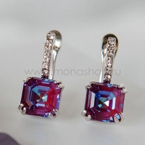Серьги «Принцесса» с кристаллами Swarovski цвета бургунди