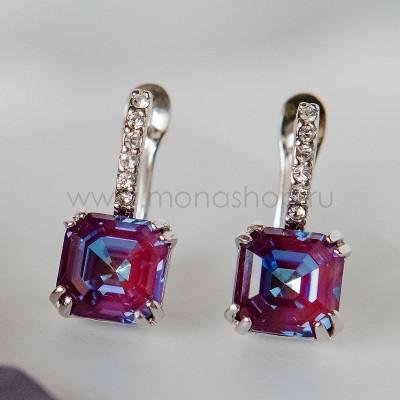 Серьги Принцесса с кристаллами Swarovski цвета бургунди