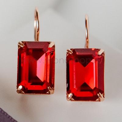 Серьги Рубиновый цвет с прямоугольными камнями Swarovski