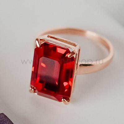 Кольцо Рубиновый цвет с прямоугольным камнем Swarovski