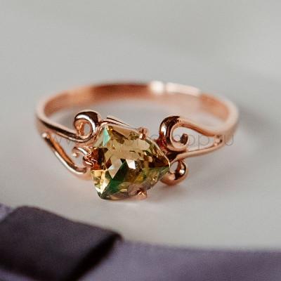 Кольцо «Райские сады» с камнем-треугольником Swarovski цвета шампань