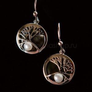 Серьги Ветви дерева с жемчужиной и перламутром, покрытие-серебро