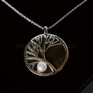 Подвеска на цепочке «Ветви дерева» с жемчужиной и перламутром, покрытие-серебро