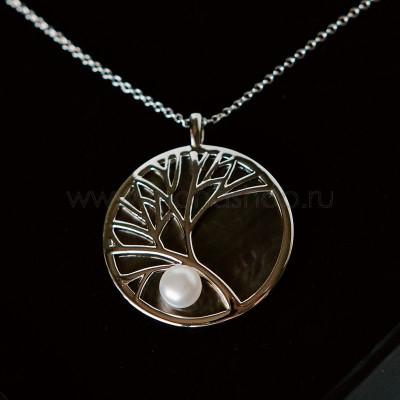 Подвеска на цепочке Ветви дерева с жемчужиной и перламутром, покрытие-серебро