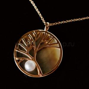 Подвеска на цепочке Ветви дерева с жемчужиной и перламутром, покрытие-золото