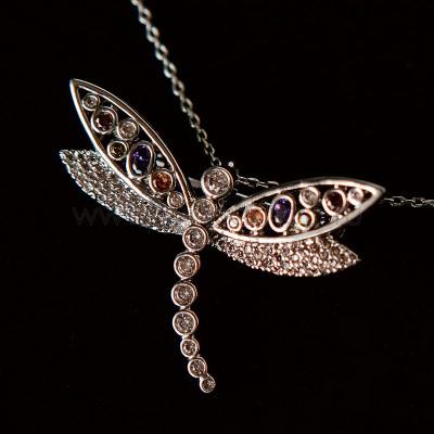 Кулон-брошь Разноцветная стрекоза с австрийскими кристаллами