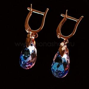Серьги-подвески Розовые грёзы с камнями Swarovski