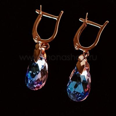 Серьги-подвески «Розовые грёзы» с камнями Swarovski