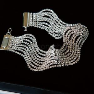 Браслет ажурный «Млечный путь» с белыми кристаллами Swarovski