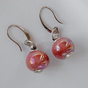 Серьги Сладкая жизнь из розовой керамики