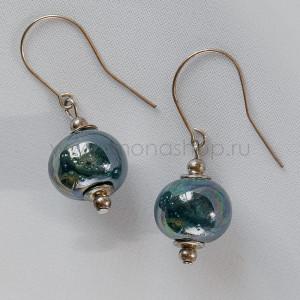 Серьги Ундина с сине-зеленой керамикой