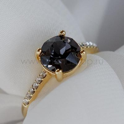 Кольцо Классика с черным камнем Сваровски