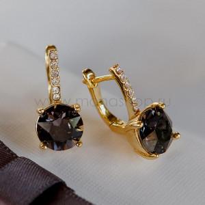 Серьги Классика с черными камнями Сваровски
