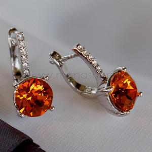 Серьги Классика с оранжевыми камнями Сваровски