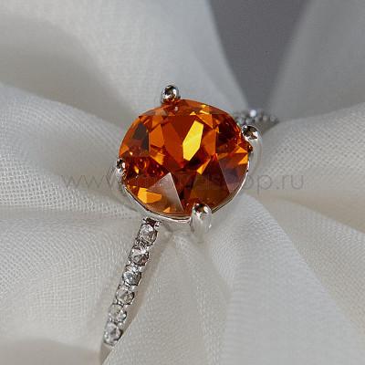 Кольцо Классика с оранжевым камнем Сваровски