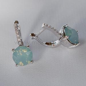 Серьги Классика с кристаллами Сваровски мятного цвета