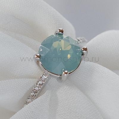 Кольцо Классика с камнем Сваровски мятного цвета