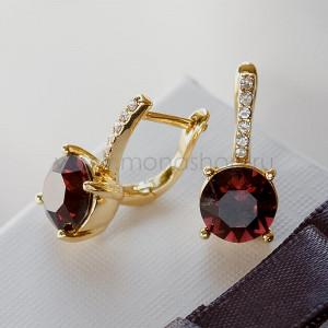 Серьги Классика с кристаллами Сваровски винного цвета